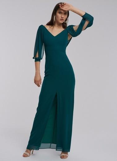 People By Fabrika Kolları Şifon Abiye Elbise Yeşil